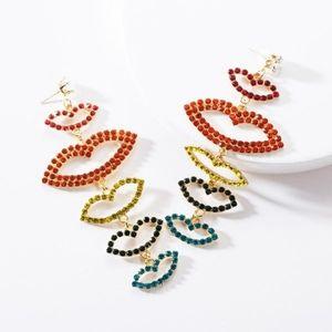 Rhinestone Lips Earrings